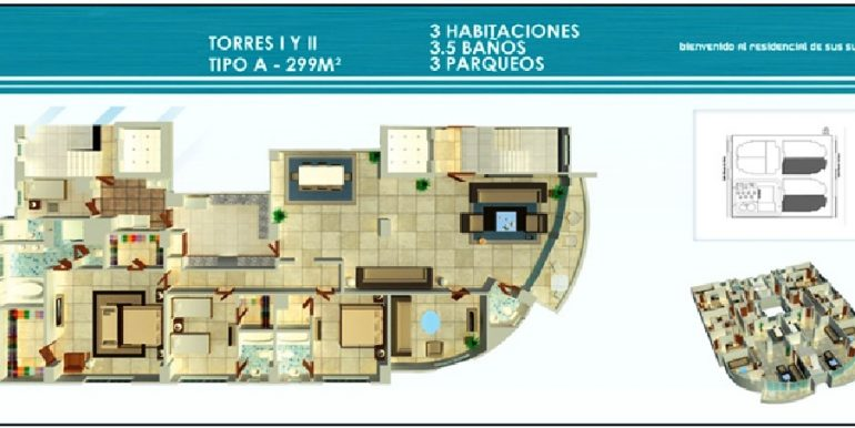 Residencial Treo - Plano Torre I y II, 3H Tipo A 299Mts