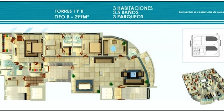 Residencial Treo - Plano Torre I y II, 3H Tipo B 229Mts