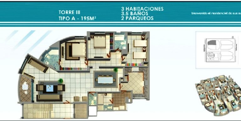 Residencial Treo - Plano Torre III, 3H Tipo A, 195Mts
