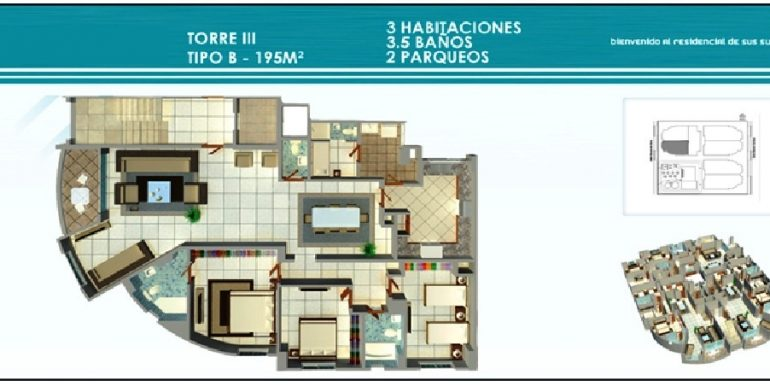 Residencial Treo - Plano Torre III, 3H Tipo B, 295Mts