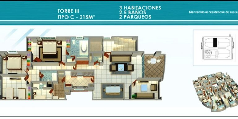 Residencial Treo - Plano Torre III, 3H Tipo C, 215Mts